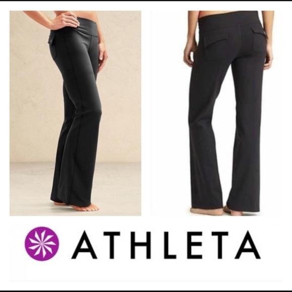 5b891587de3de Athleta Pants - Athleta Black Fusion Yoga Flare Wide Leg Pants